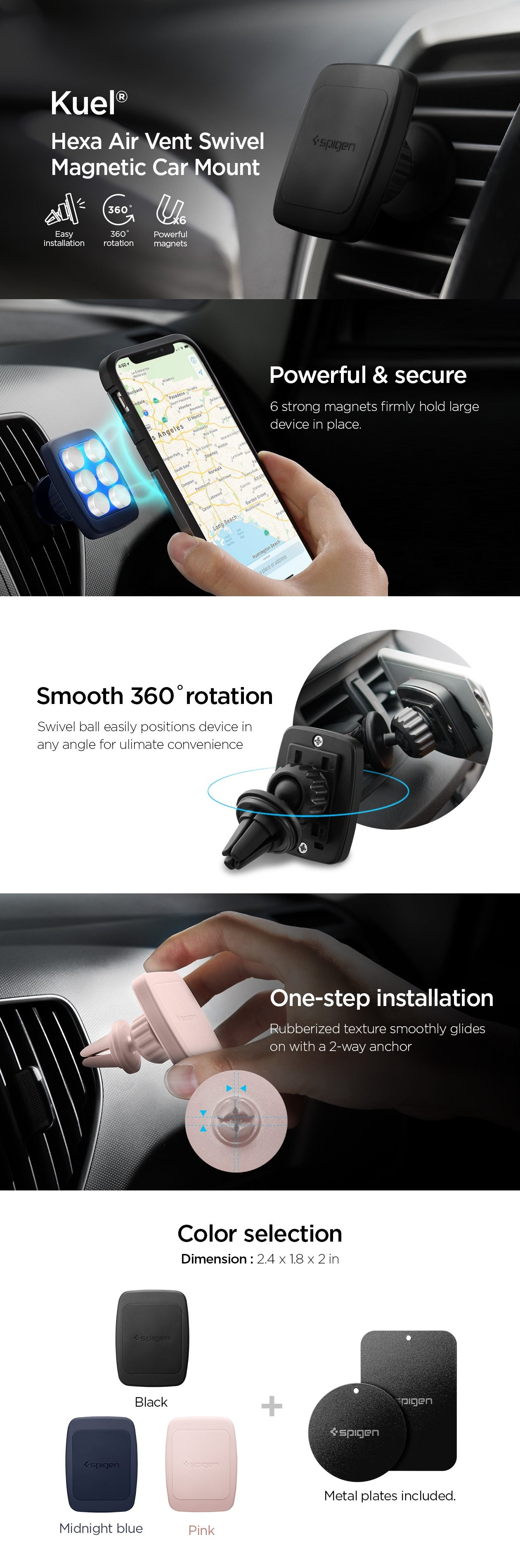SPIGEN - Kuel® H12 Hexa-Core Magnetic Air Vent Car Mount (000CD20115)