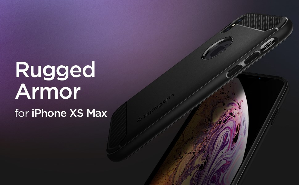SPIGEN - iPhone XS Max Case Rugged Armor, Matte Black (065CS25125)