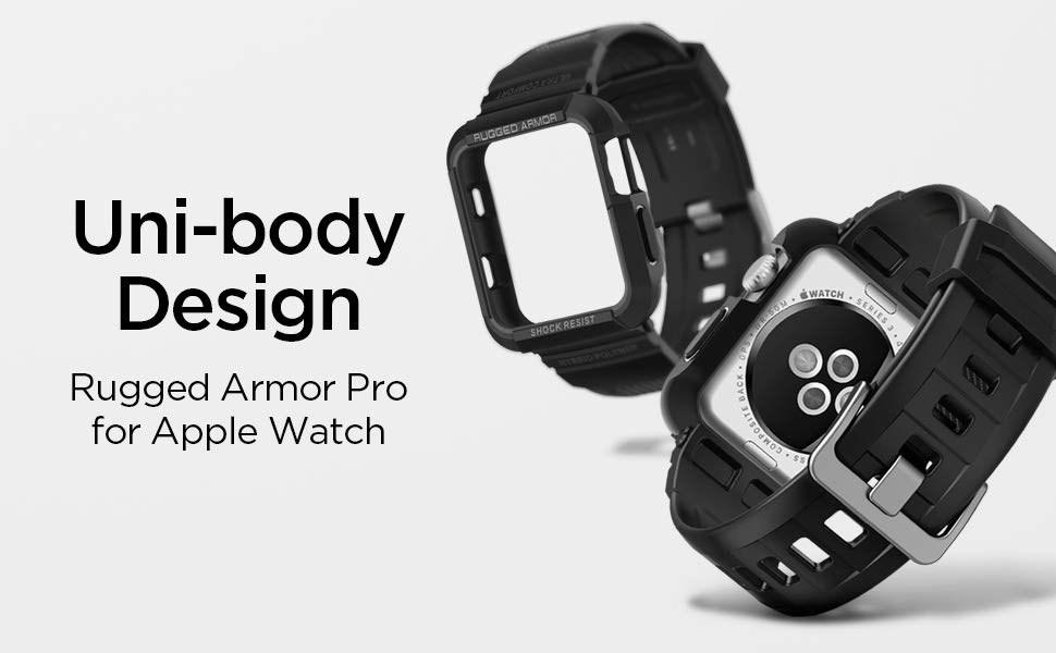 SPIGEN - Apple Watch 3/2/1 (42mm) Case Rugged Armor Pro, Black (059CS22408)
