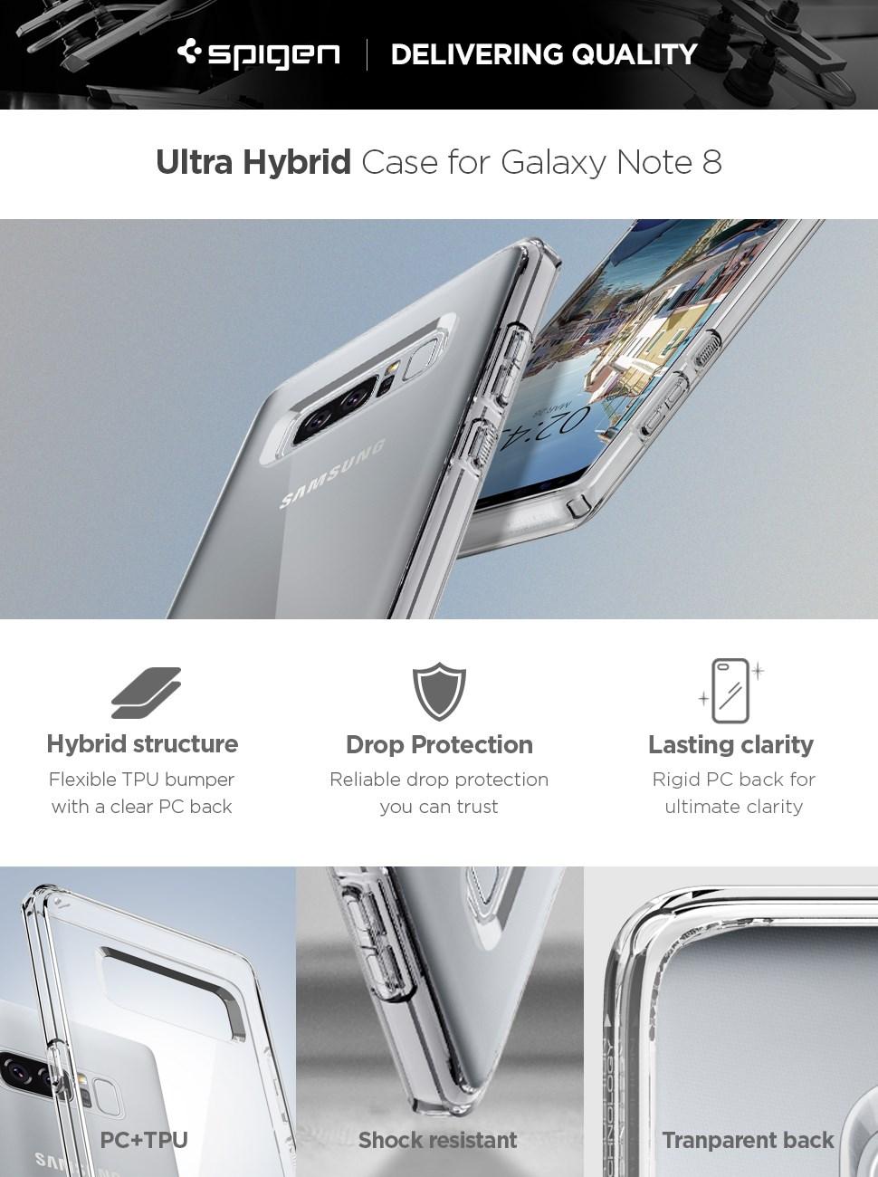 SPIGEN - Samsung Galaxy Note 8 Case Ultra Hybrid, Crystal Clear (587CS22063)