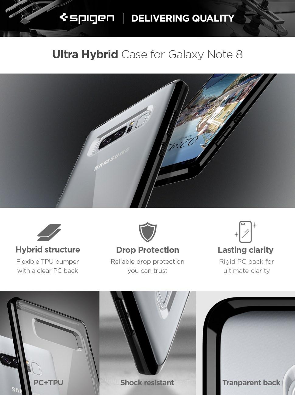 SPIGEN - Samsung Galaxy Note 8 Case Ultra Hybrid Midnight Black (587CS22065)