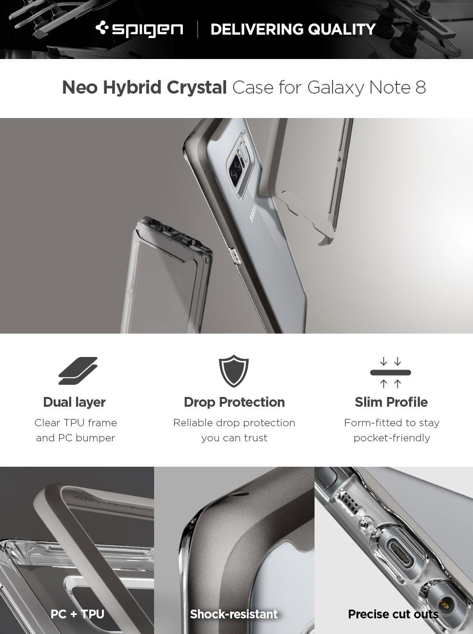 SPIGEN - Samsung Galaxy Note 8 Case NEO HYBRID Crystal, Gunmetal (587CS22092)