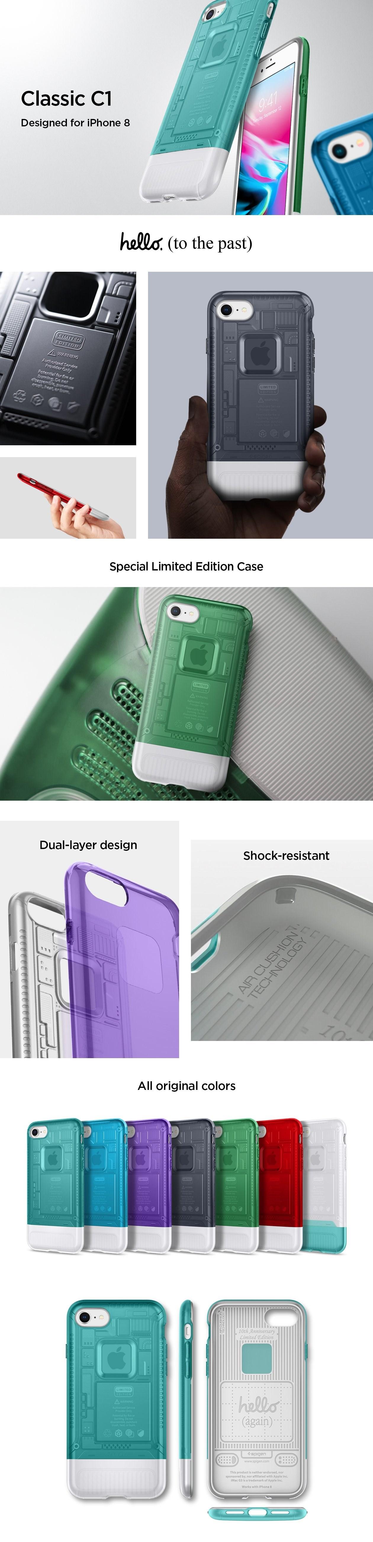 SPIGEN - iPhone 7/8 Case Classic C1, Bondi Blue (054CS24401)