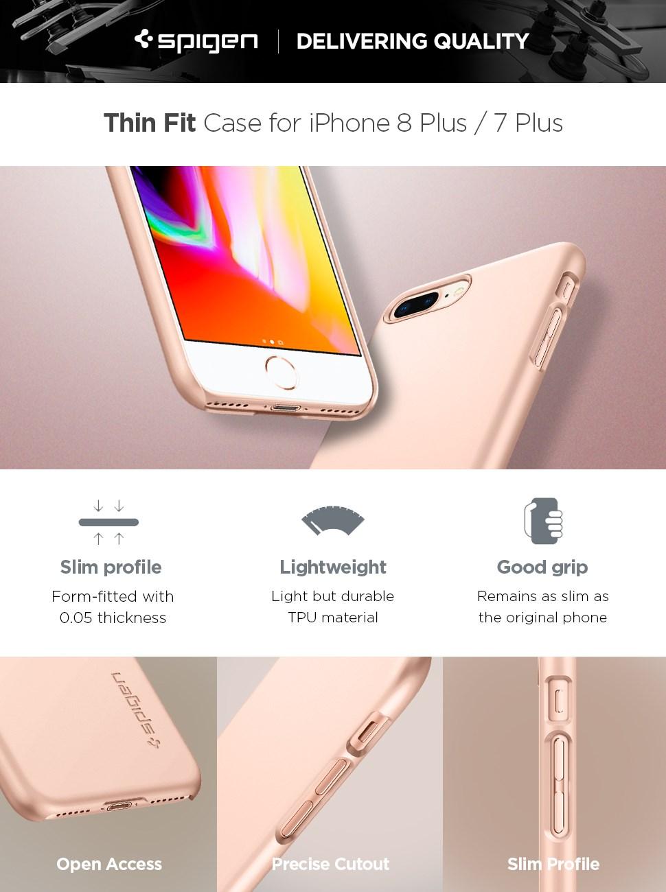 SPIGEN - iPhone 8 Plus Thin Fit Blush Gold (055CS22573)