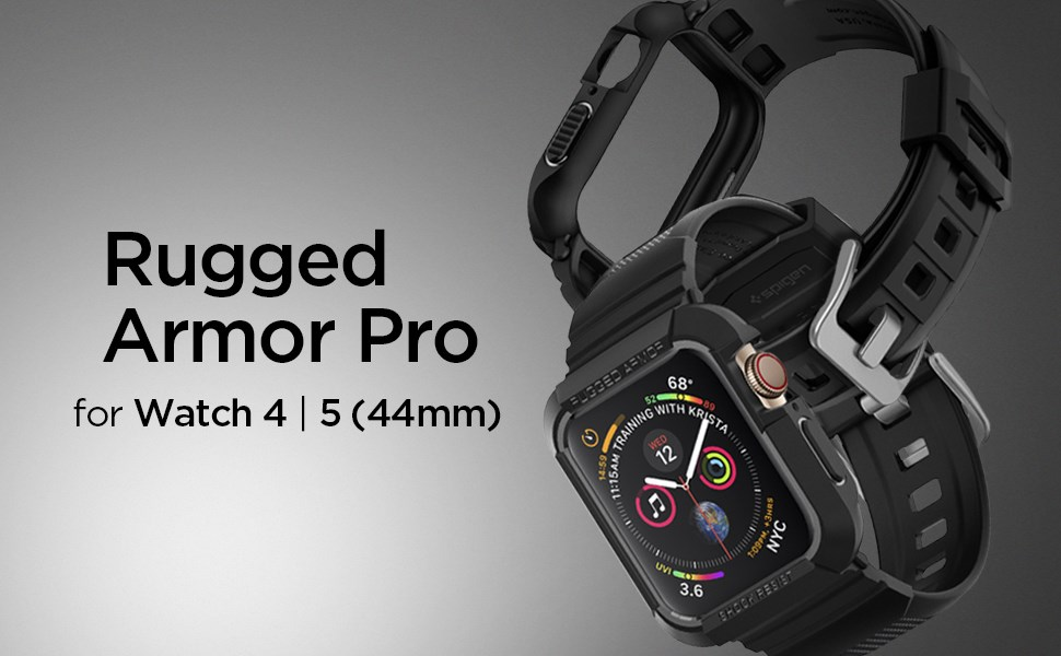 SPIGEN - Apple Watch Series 4 (44mm) Case Rugged Armor Pro, Black (062CS25324)
