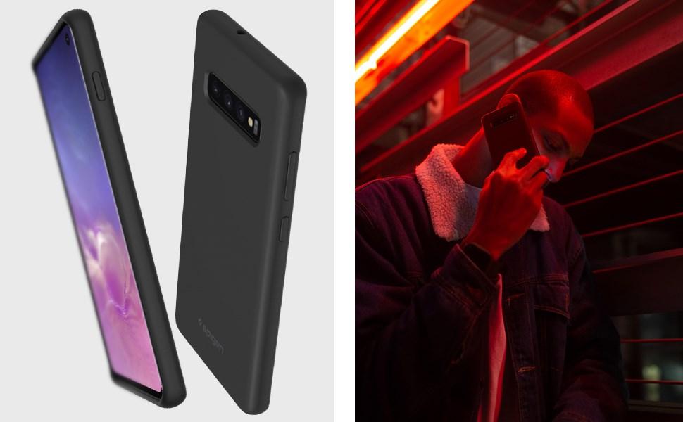 SPIGEN Galaxy S10 Case Silicone Fit, Black (605CS25818)