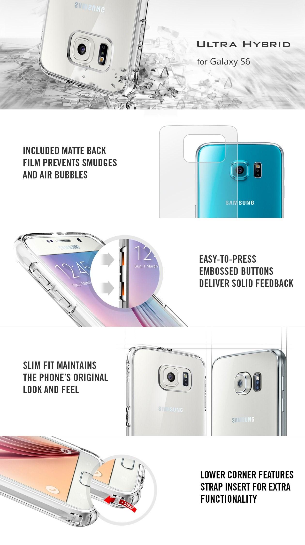 SPIGEN - Samsung Galaxy S6 Case Ultra Hybrid, Metal Slate (SGP11313)