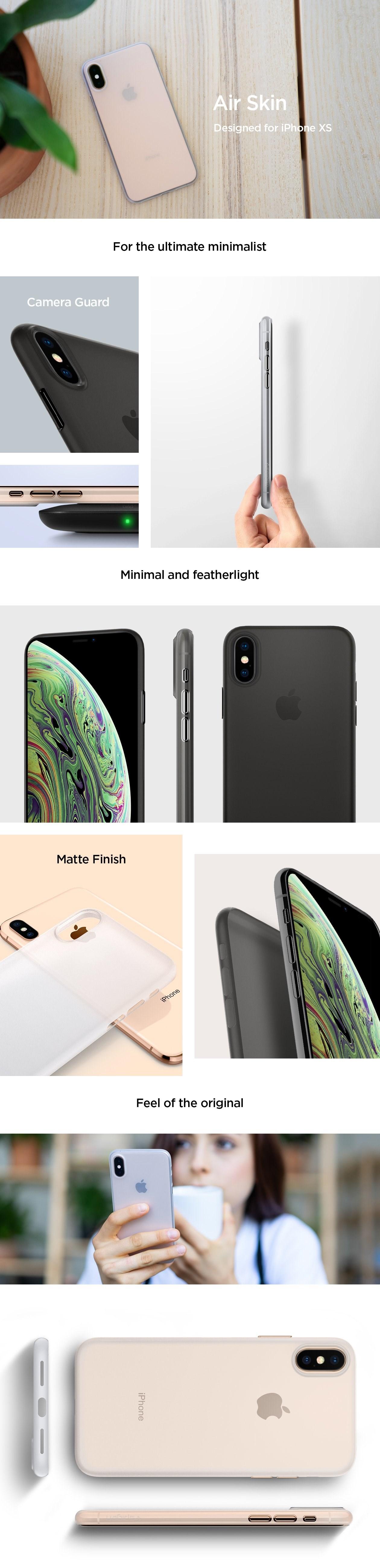 SPIGEN - Apple iPhone X/XS Case Airskin, Soft Clear (063CS24909)