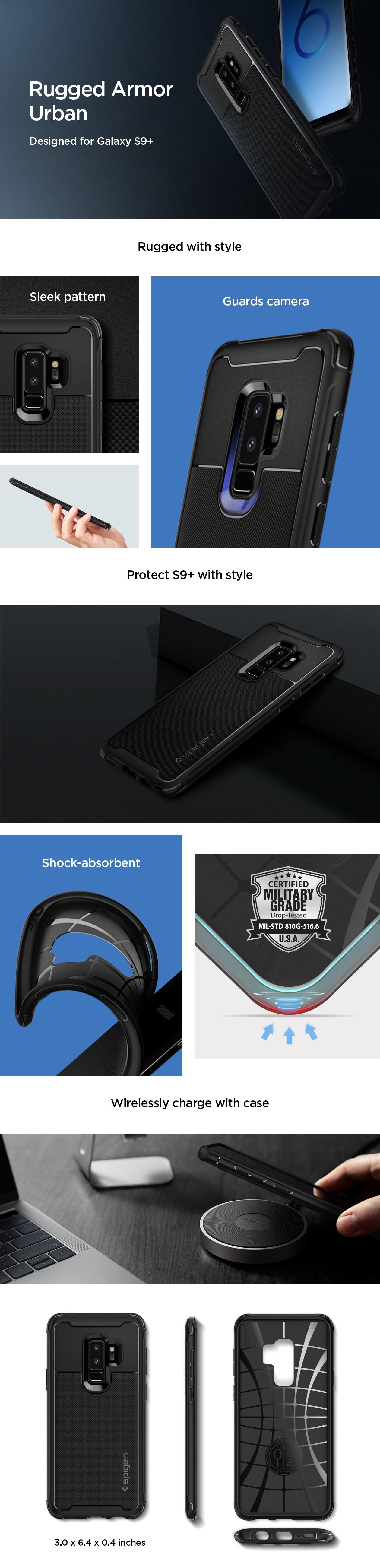 SPIGEN - Samsung Galaxy S9 Plus Case Rugged Armor Urban Black (593CS22962)