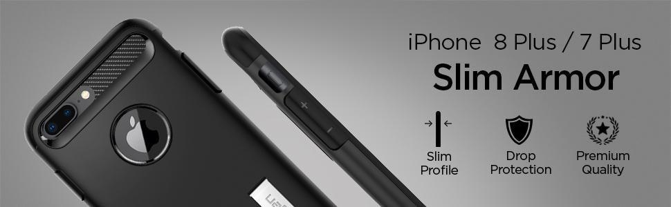 SPIGEN - iPhone 7/8 Plus Case Slim Armor Black (043CS20648)