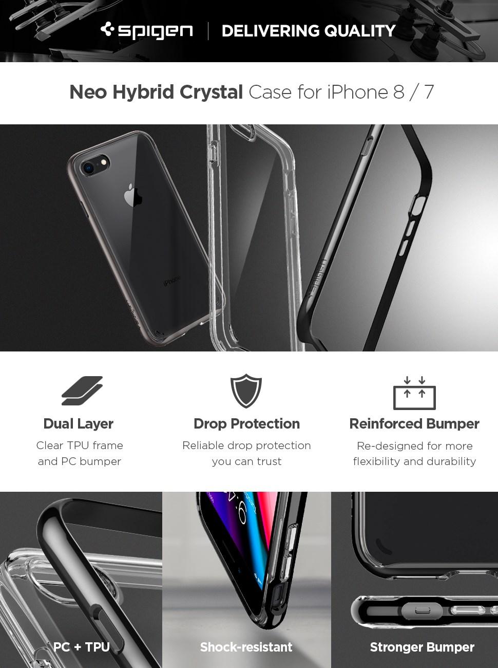 SPIGEN - iPhone 7/8 Plus Case Ultra Hybrid 2 Crystal Clear (043CS21052)