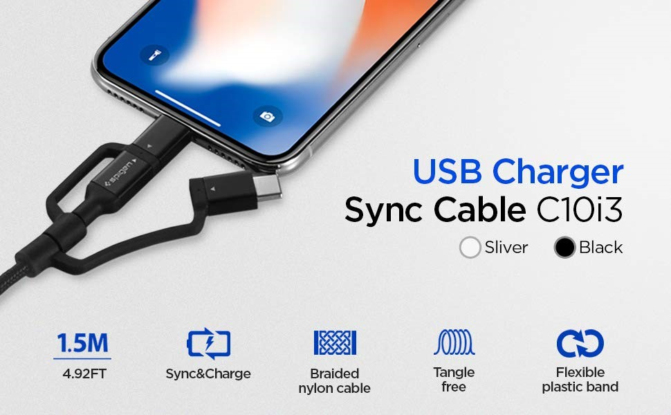 SPIGEN C10I3 3IN1 TYPE-C & LIGHTNING & MICRO-USB CABLE 150CM BLACK (000CB22774)