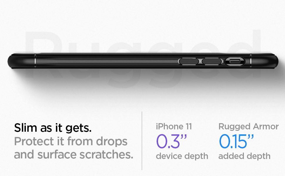 SPIGEN - Apple iPhone 11 Case Rugged Armor, Matte Black (076CS27183)