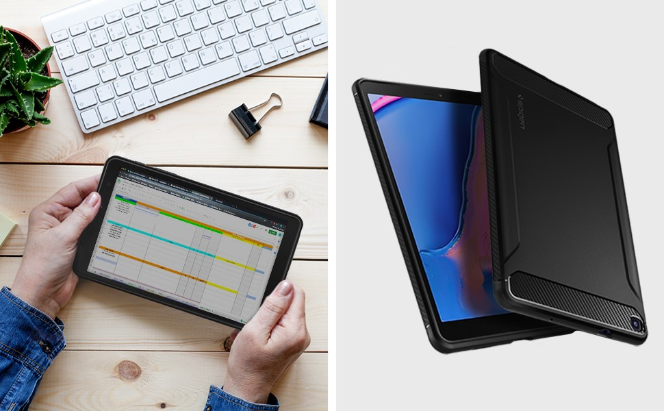 Spigen - Rugged Armor, Samsung Galaxy Tab A 8.0 2019, Matte Black (ACS00048)
